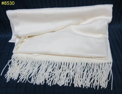 Shawl 8530 Ivory Woolen Authentic Kashmiri Cashmere Shawl Wrap