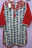 Blouse 8555 Ivory Cotton Linen Blue Print Juniors Small Size Kurti Career Wear
