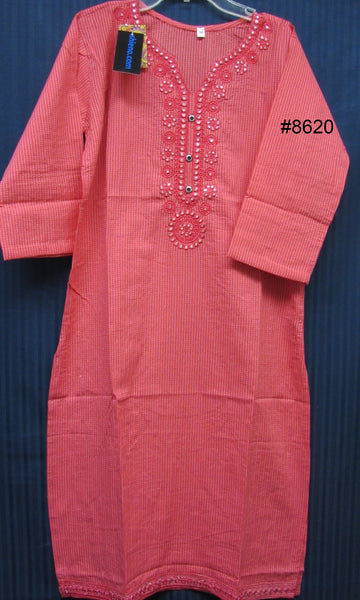 Blouse 8621 Cotton Embroidered Career Wear Small Medium Size Kurti