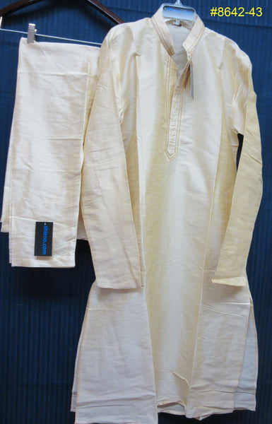 Men's 8643 Ivory Cream Tussar Kurta Pajama Set