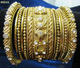 Bangles 8650 Golden Indian Set of Kadra and Bangles