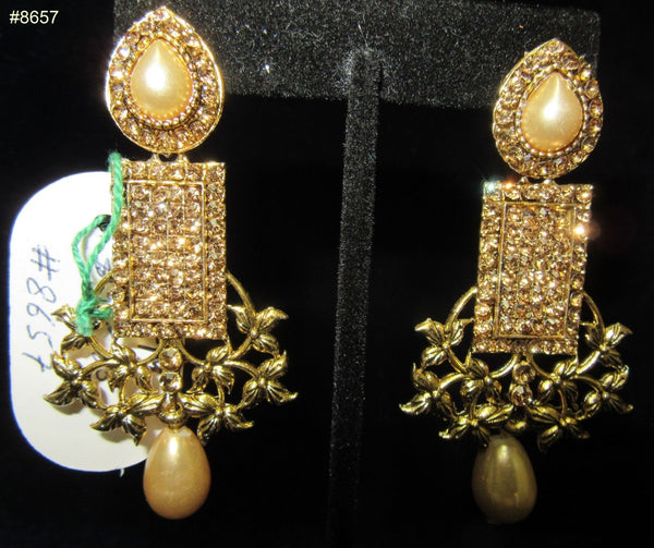 Earrings 8657 Gold tone Patti shaped, GOLD CZ and Pearls Earrings