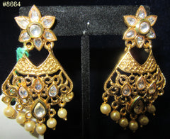 Earrings 8664 Gold Tone Star with Crystals and Pearls Earrings