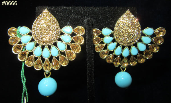 Earrings 8666 Gold Fan, Gold CZ Gold Crystals and Firozi Beads Earrings
