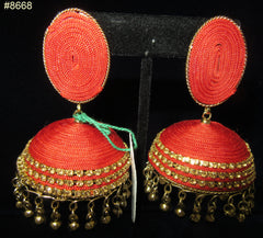 Earrings 8668 Gold Red Tone, Golden Crystal Zircons, big Jhumka Earrings