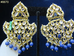 Earrings 8670 Gold Crown Shaped Crystal Stones Pearl Beads Hanging Blue Beads Earrings