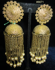 Earrings 8671 Gold Stud Jhumka Golden Strings Pearl beaded Earrings