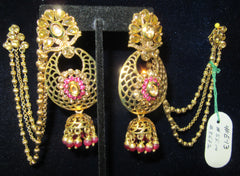 Earrings 8672 Gold Pink Gold CZ Golden Strings Side Hanging Jhumka Pink beads Earrings