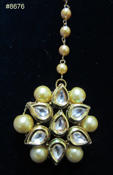 Tikka 8676 Gold Tone encrusted Crystal Stones and Pearls
