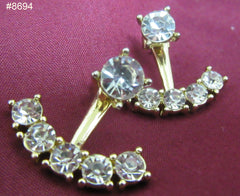 Earrings 8694 Gold Two in One Gold CZ Golden Earrings
