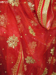 Dupatta 8723 Red Net Heavy Work Bridal Chuni Dupatta