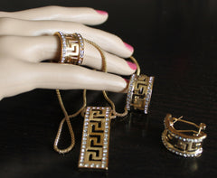 Pendant 089 Golden Pendant Earrings Finger Ring Crystal Set Shieno