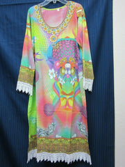 Blouse 9021 Multi-Color Crepe Career Wear Medium or Large Size Kurti