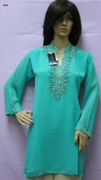 Blouse 9056 Solid Firozi Georgette Silver Detail Cocktail Wear Medium Size Kurti