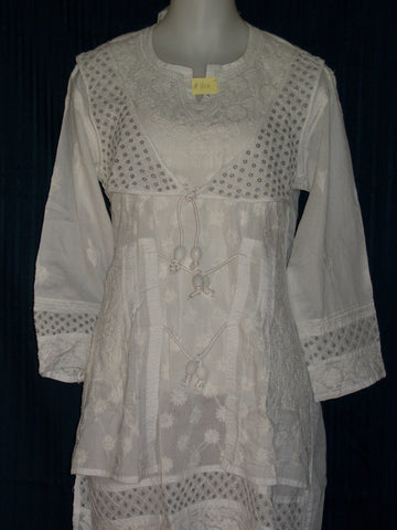 Blouse 906 White Cotton Embroidered Tunic Top Kurti Shieno