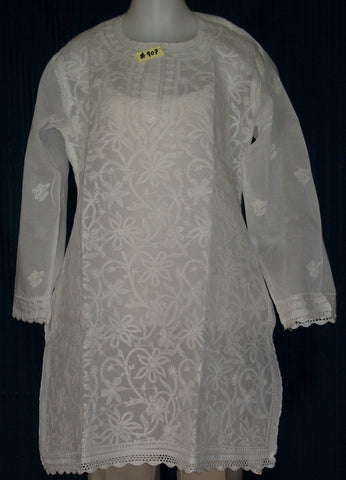 Blouse 907 White Cotton Embroidered Tunic Top Kurti Shieno
