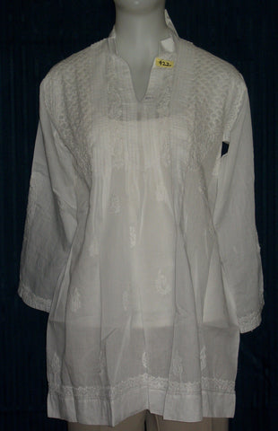 Blouse 922 White Cotton Embroidered Tunic Top Kurti Shieno