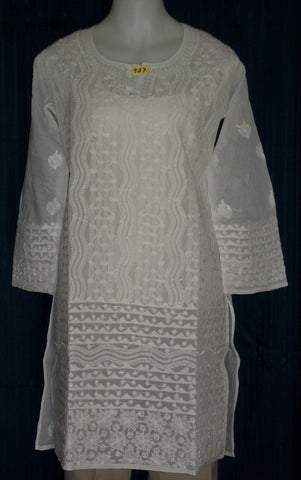 Blouse 927 White Cotton Embroidered Tunic Top Kurti Shieno
