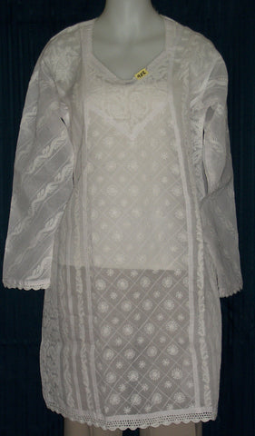 Blouse 928 White Cotton Embroidered Tunic Top Kurti Shieno