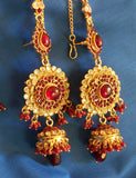 Polki 975 Zircon Ruby Red Stone Bridal Necklace Full Set Shieno Sarees