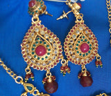Polky Set 976 Zircon Ruby Emerald Indian Bridal Set Shieno Sarees