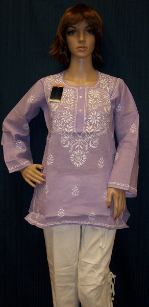 Blouse 4423 Mauve Cotton Embroidered Kurti Tunic Shirt Blouse Shieno Sarees