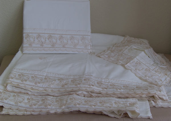 Twin 0144 Ivory Bed Sheet Duvet Cover Set