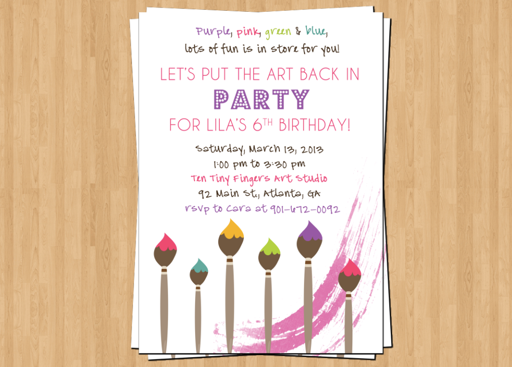Printable Art Birthday Invitation Painting Party – Painting Birthday Invitations