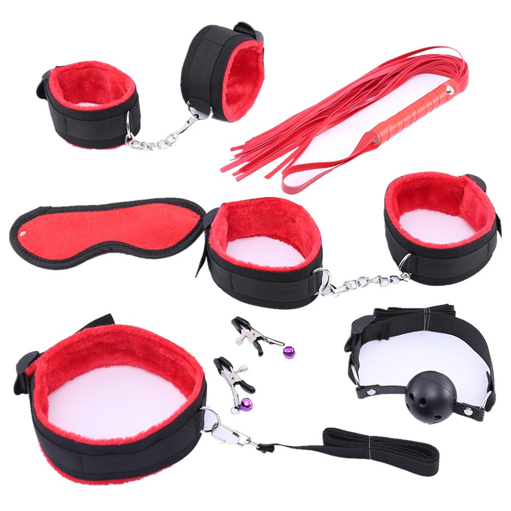7 Pcs Bondage Set Cotton Sexy Red BDSM for Couples - specialsextoys.com