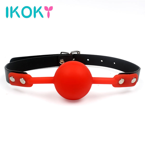 IKOKY Mouth Gag Silicone Ball Oral Fixation PU Leather Band BDSM - specialsextoys.com