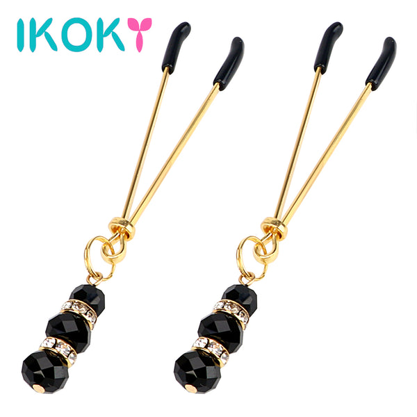 IKOKY 1 Pair Adult Game Nipple Clamps Clit Clamp Adjustable Erotic Product Sex Toys for Couples with Jewelry Breast Labia Clips - specialsextoys.com