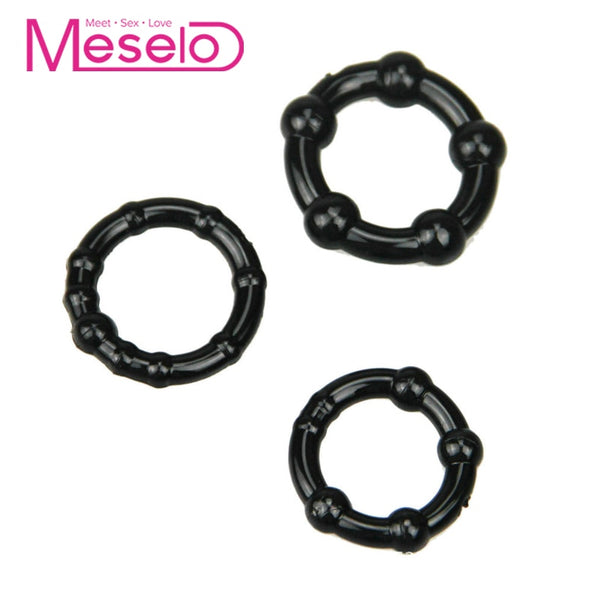 Meselo 3pcs Penis Enhancer Cock Ring Delay Ejaculation - specialsextoys.com