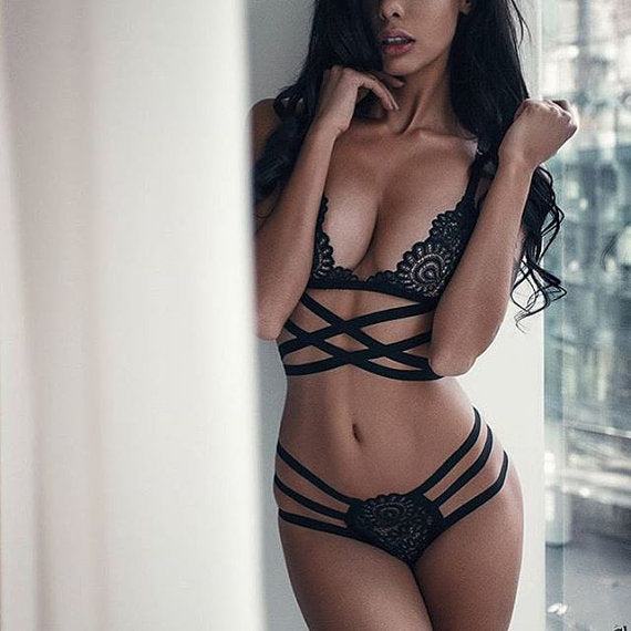 Translucent Bandage Lace Cross Belt Hollow Bra 2018 Sexy Lingerie Bra Set Intimates Ladies Underwear Set Lace Bra and Panty Set - specialsextoys.com