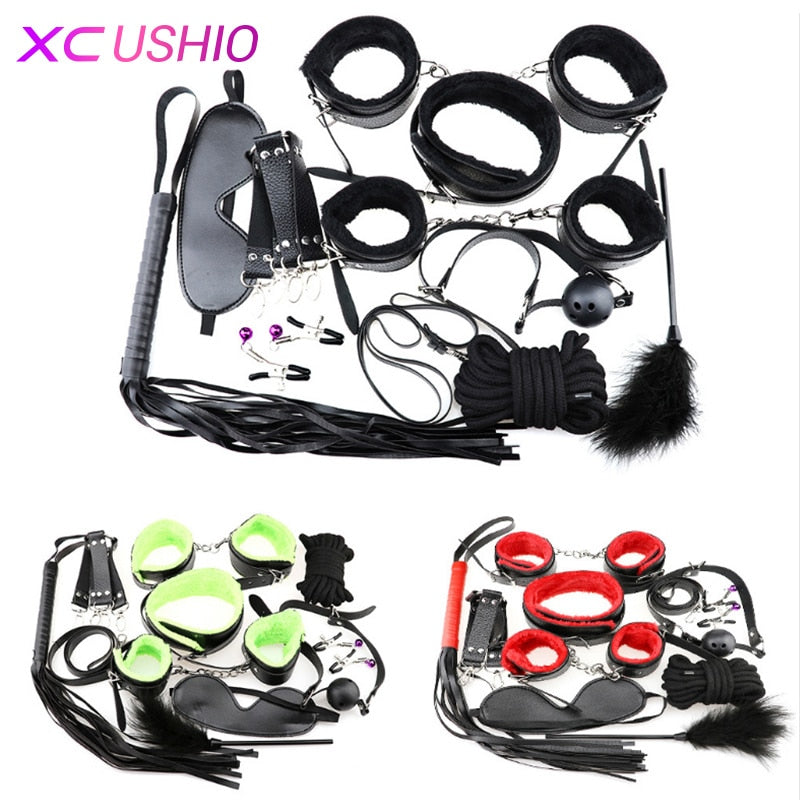 10pcs BDSM Bondage Set Handcuffs Nipple Clamp Whip Collar Kit for Couples - specialsextoys.com