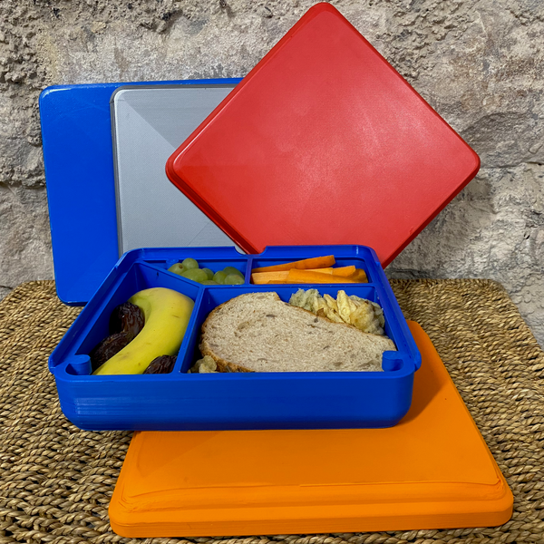 orange and blue plastic free lunchbox