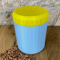 One Litre Light Blue Container with Yellow Lid - Plastic Free Biodegradable