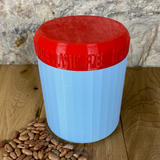 One Litre Light Blue Container with Red Lid - Plastic Free Biodegradable