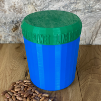 One Litre Blue Container with Dark Green Lid - Plastic Free Biodegradable