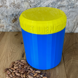 One Litre Blue Container with Yellow Lid - Plastic Free Biodegradable