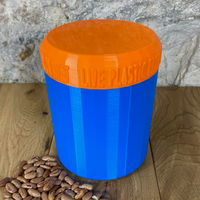 One Litre Blue Container with Orange Lid - Plastic Free Biodegradable