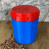 One Litre Blue Container with Red Lid - Plastic Free Biodegradable