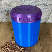 One Litre Blue Container with Purple Lid - Plastic Free Biodegradable