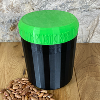 One Litre Black Container with Light Green Lid - Plastic Free Biodegradable