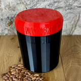 One Litre Black Container with Red Lid - Plastic Free Biodegradable