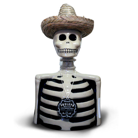 Los Azulejos Reposado Tequila Skeleton Bottle Skelly