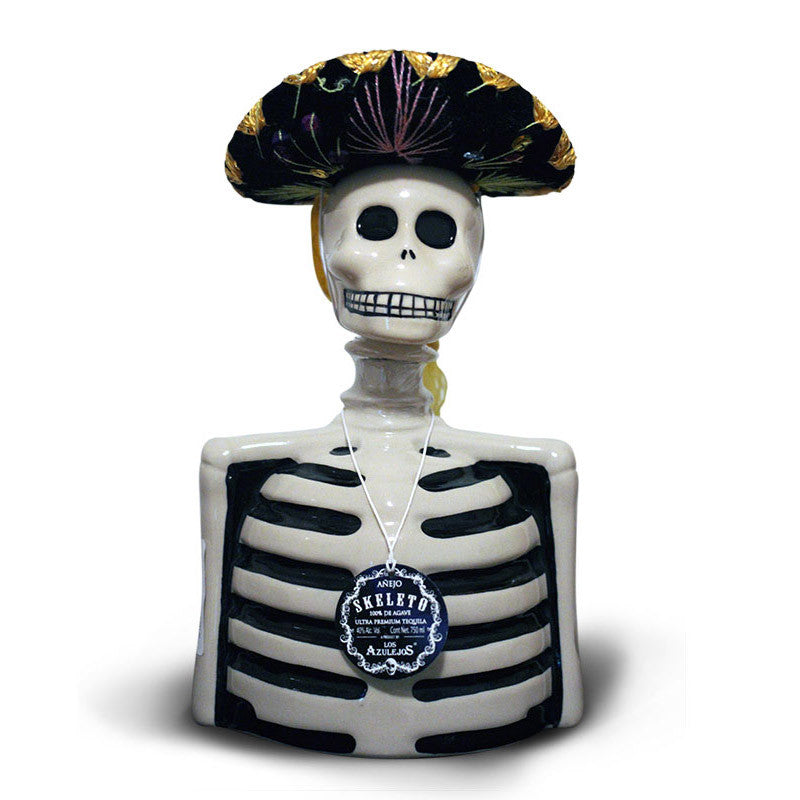 Los Azulejos Anejo Tequila Skeleton Bottle Skelly