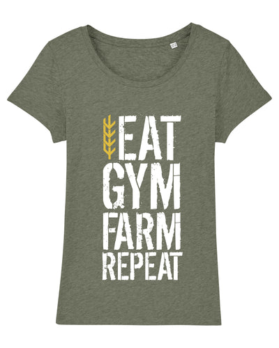 Women's Eat Gym Farm Repeat Tee