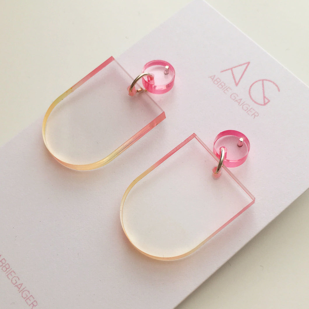 Ombre Rounded Dangle Stud Earrings