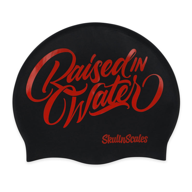 swimming hat black and red