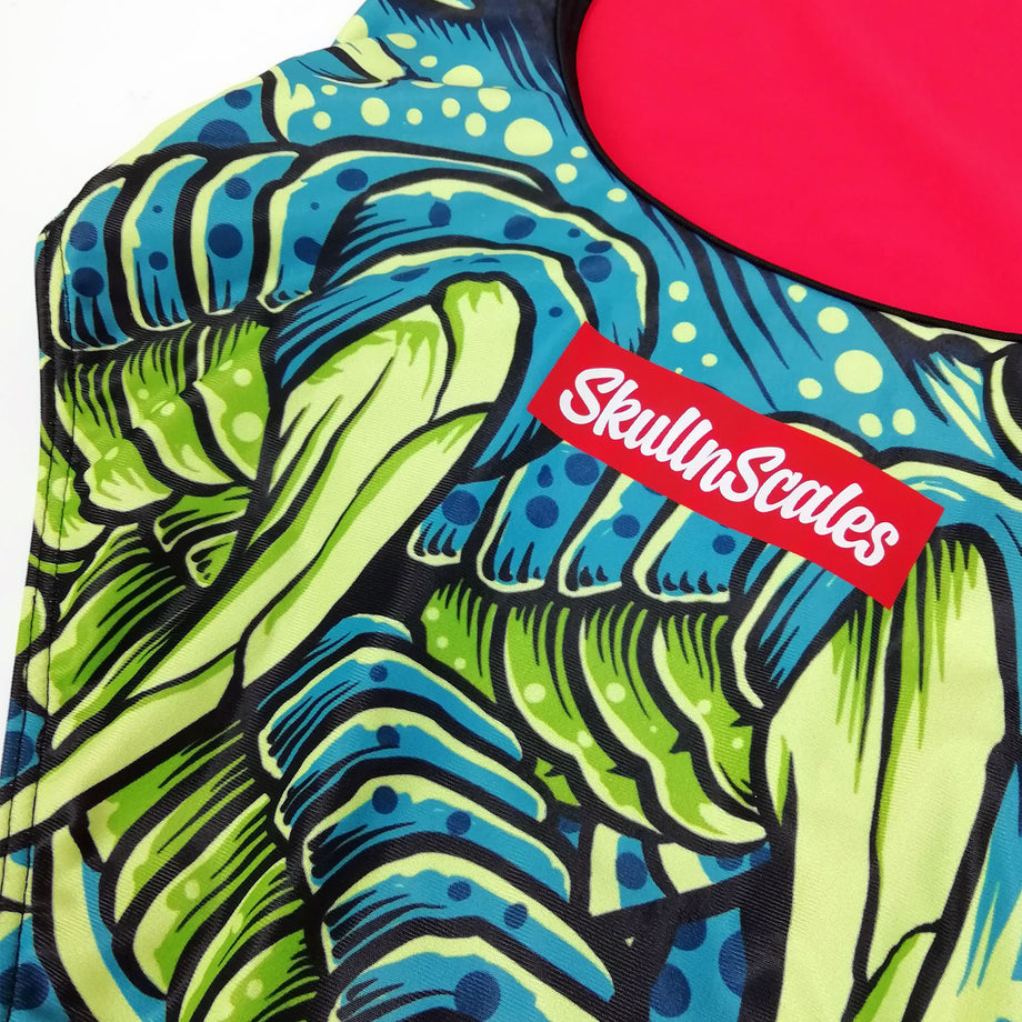 green dragon womens swimwear close up